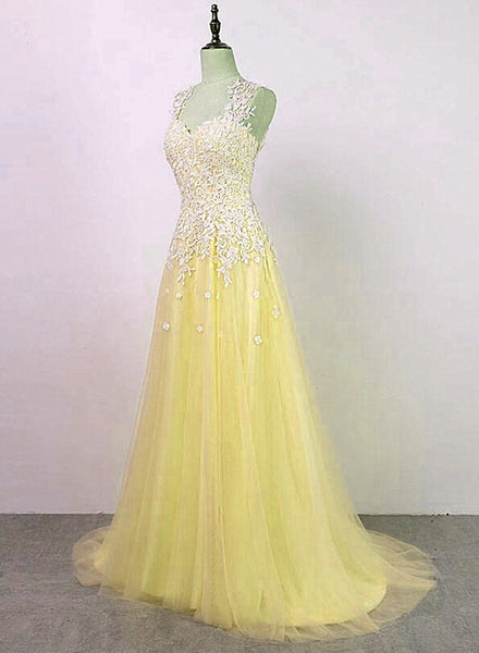 Yellow Tulle with Applique Long Party Dress, Charming Junior Prom Dress