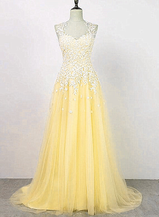 yellow tulle prom dress