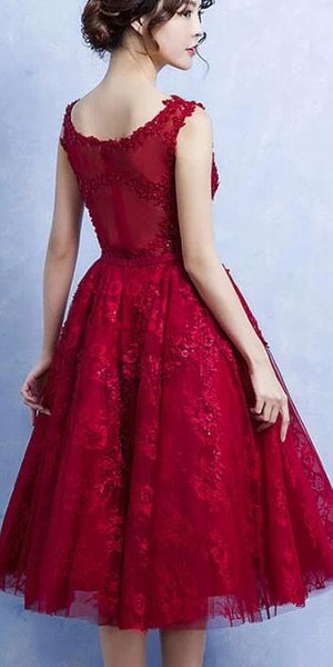 Elegant Tea Length Wine Red Homecoming Dress, Lace Party Dress 2020