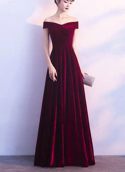 Beautiful Red Velvet Prom Dress 2019, Long Off Shoulder Bridesmaid Dress