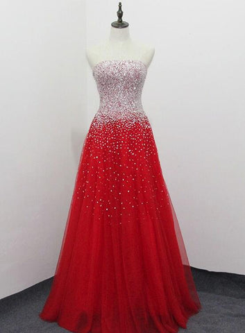 Red Gorgeous Handmade Long Formal Gown, Prom Dress 2019, Red Party Dress