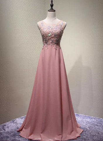 Dark Pink Chiffon and Beaded A-line Round Neckline Junior Prom Dress 2019, Long Evening Dress