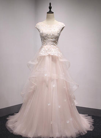 Light Pink Layers Tulle with Lace Elegant Prom Gown, Charming Formal Dresses