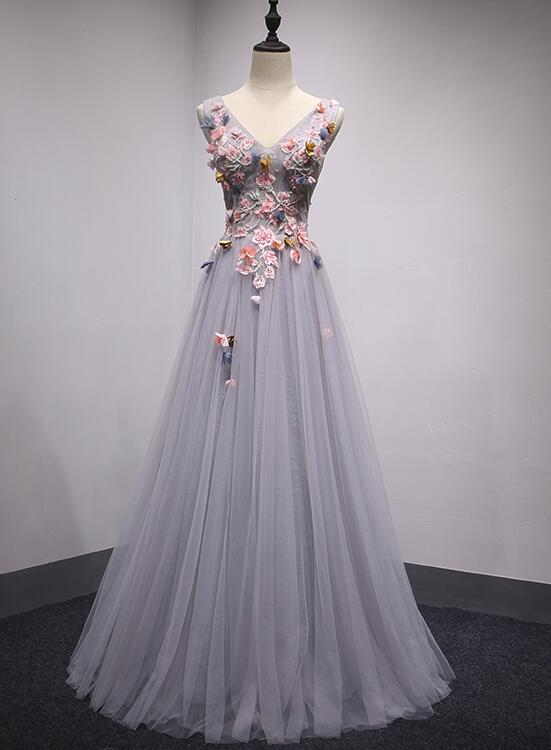 Dark Grey V-neckline Tulle with Flowers Long Formal Dress, Charming Party Dresses