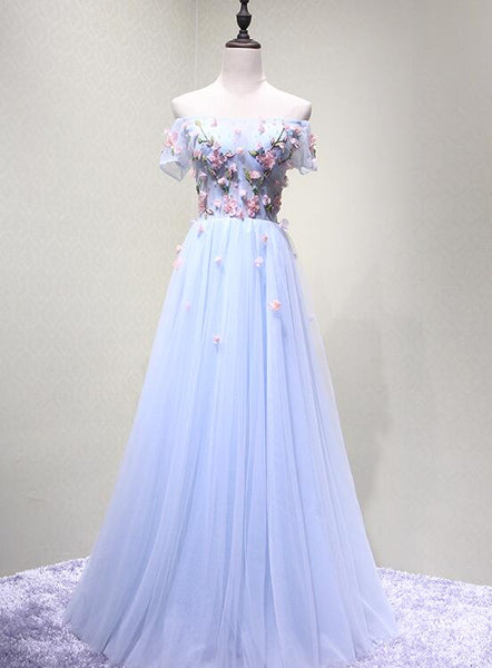 Light Blue Beautiful Flowers Cute Prom Dresses 2019, Long Formal Dresses