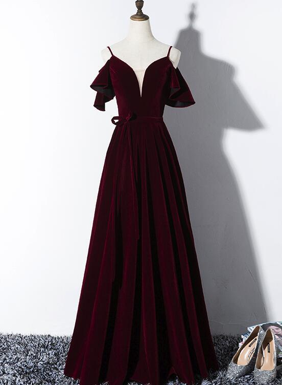 Elegant Velvet Long Bridesmaid Dress 2019, Charming Party Gowns 2019