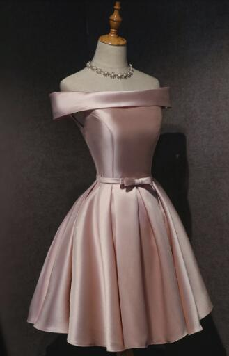 Cute Pink Satin Off Shoulder Knee Length Formal Dress, Lovely Prom Dress