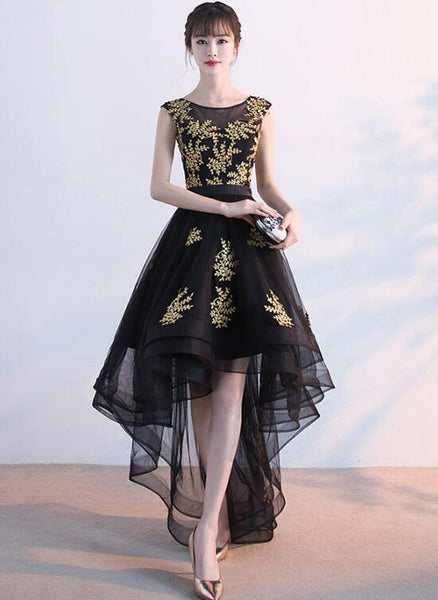 Black Tulle High Low Homecoming Dress with Gold Applique, Lovely Formal Dress 2019