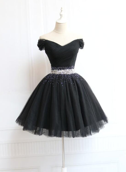 Lovely Off Shoulder Navy Blue Beaded Homecoming Dress, Short Prom Dress