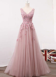 Charming Pink Tulle Prom Dress, Beautiful Long V-neckline Party Dresses