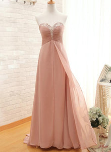 Beautiful Pearl Pink Sweetheart Beaded Chiffon Long Bridesmaid Dress, Pink Long Formal Dress 2019