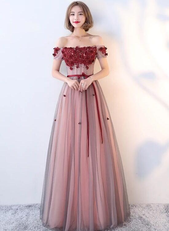 Dark Red Tulle A-line Floor Length Party Dress 2019, Charming Formal Gown