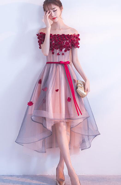 Charming High Low Tulle Formal Dress with Off Shoulder Style, Prom Dress, Homecoming Dresses