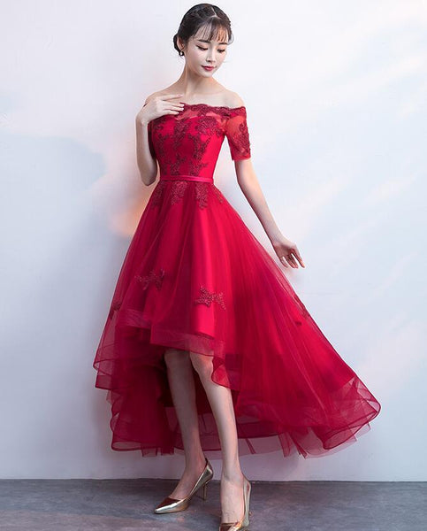 Wine Red Lace and Tulle Party Dress 2019, High Low Formal Dress 2019
