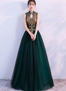 dark green halter long formal dress