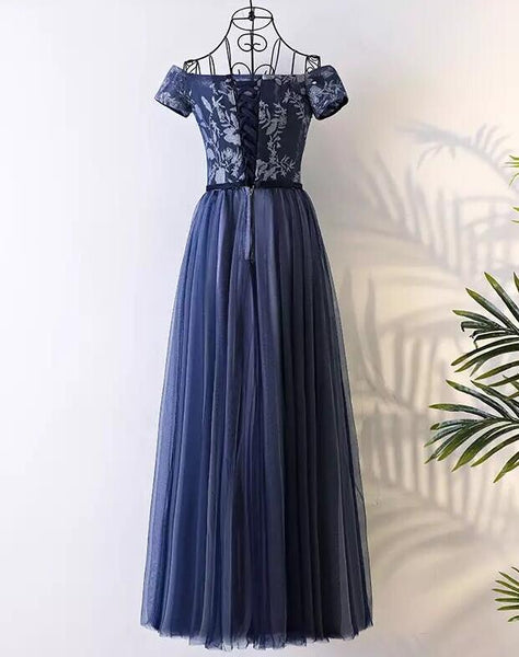 Blue Elegant Long Party Dress 2019, Charming Navy Blue Tulle Gowns