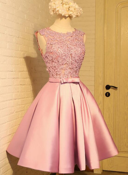 pink satin knee length party dress