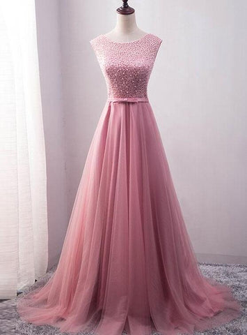 pink beaded long formal dress