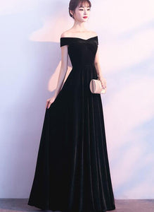 black velvet off shoulder dress