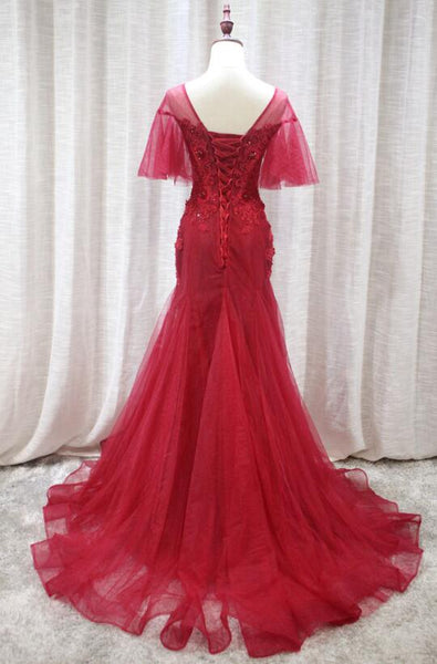 Wine Red Tulle Elegant Evening Party Gowns, Charming Formal Dress 2019