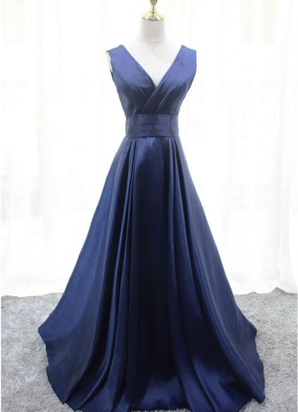 Navy Blue Elegant Formal Dresses, Charming Satin Prom Dress, Party Dresses 2019