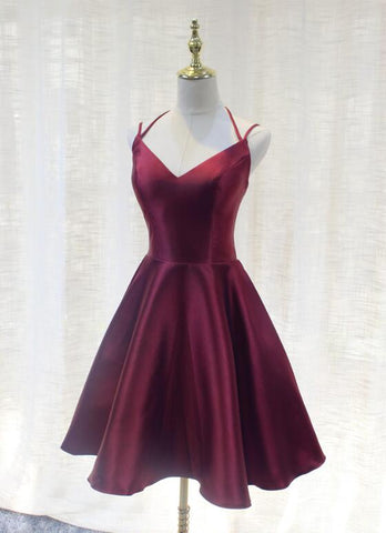 Burgundy Straps V-neckline Short Party Dress 2019, Lovely Satin Homecoming Dress 2019