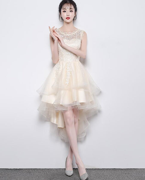 Champagne High Low Round Neckline Party Dress, Tulle Homecoming Dress