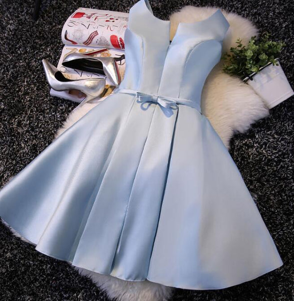 Simple Light Blue Satin Knee Length Party Dress 2019, Charming Homecoming Dress