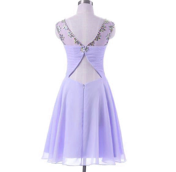 Beautiful Lavender Chiffon Beaded New Style Homecoming Dress, Short Prom Dress