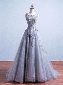 grey lace long prom dress