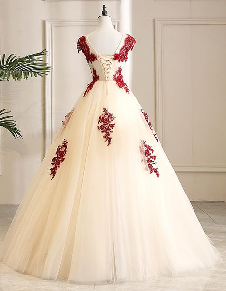 Gorgeous Champagne Tulle Long Sweet 16 Dress with Red Lace, Formal Gown 2019