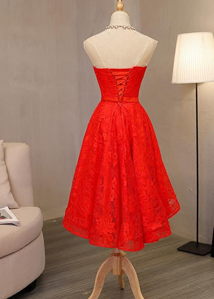 Red Lace One Shoulder High Low Party Dress, Cute Formal Dress 2019