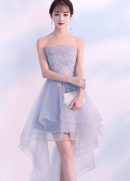 Light Grey High Low Tulle Homecoming Dress with Lace, Fashionable Party Dress