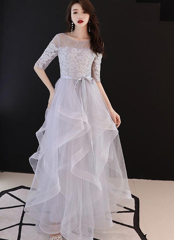 Beautiul Layers Tulle Floor Length Party Dress with Lace Top, A-line Wedding Party Dress