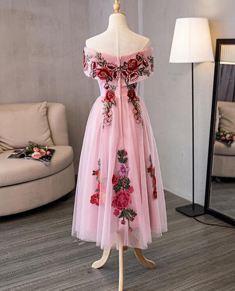 Lovely Pink Off Shoulder Tea Length Formal Dress, Cute Party Dress 2019