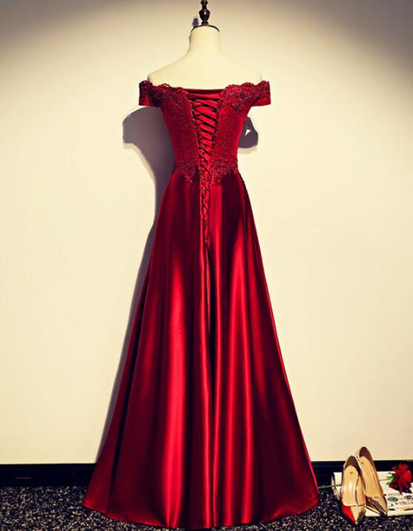 Dark Red Satin with Lace Applique A-line Formal Dress, Long Junior Prom Dress