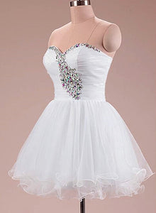 Sweetheart White Tulle Homecoming Dresses, Short Prom Dress