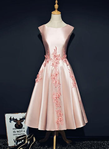 pink tea length homecoming dress