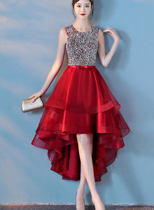 red sequins high low dress