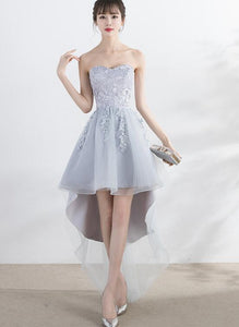 Light Grey High Low Tull and Lace Party Dress, Cute Prom Dress