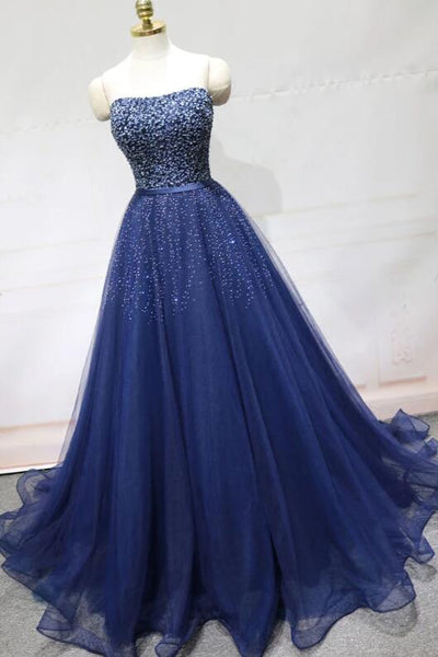 Blue Beaded and Sequins Long Tulle Elegant Party Dress, New Formal Dress