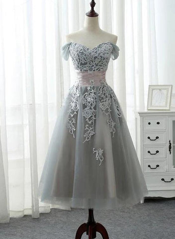 grey tea length homecoming dress