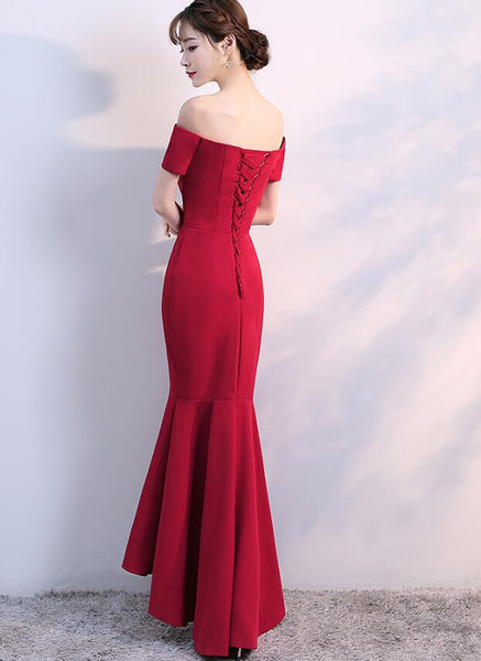 Beautiful Red Mermaid High Low New Evening Gown, Charming Lace-up Formal Dress