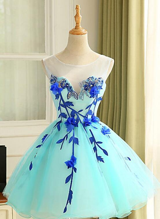 Lovely Light Blue Homecoming Dress, Cute Party Dress 2020