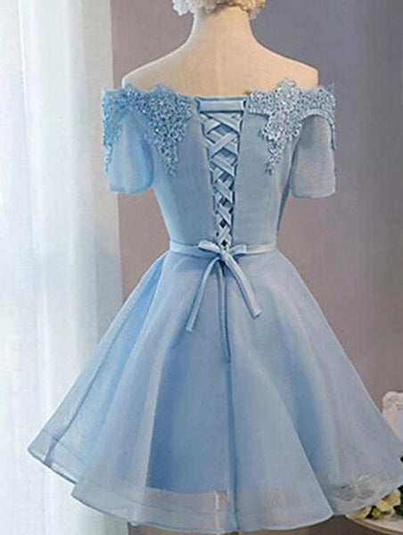 Cute Short Sleeves Lace-upTulle, Homecoming Dresses 2019