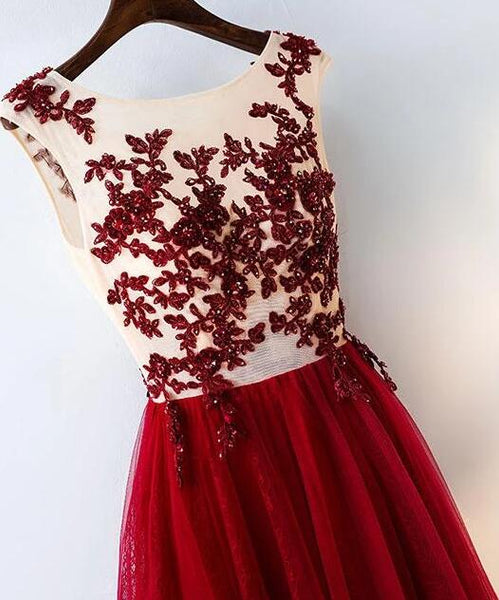 Burgundy Lace Tulle Long Prom Dress, A-line Pretty Evening Gown 2020