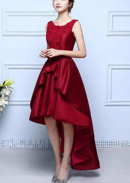 Charming Dark Red High Low Homecoming Dress , New Prom Dress 2020