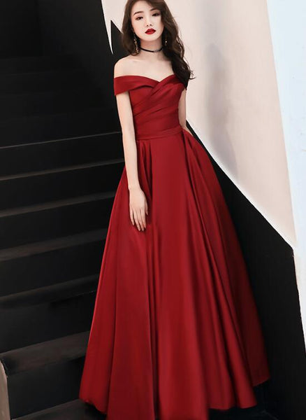 Beautiful Red Long Off Shoulder Party Dress, New Formal Dress 2020