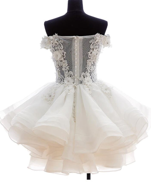 Cute White Organza Layers Short Prom Dress, New Party Dress