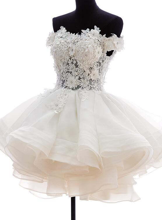 white organza short party dress